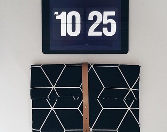 White geometric, iPad bag / clutch from canvas with leather Cap Black,