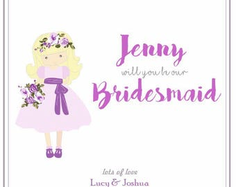 Will You Be Our Bridesmaid, I Can'T Say I Do Wothout You, Bridal Party Card, For Our  Bridesmaid, Personalised Card, Bridesmaid Keepsake Car