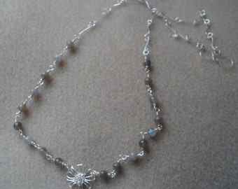 Labradorite roseary linked Necklace with 925 silver flower.