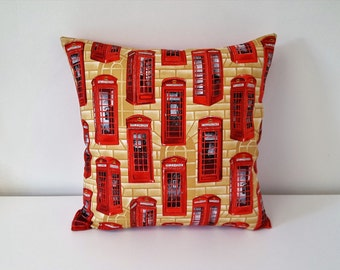 Handmade Decorative The Telephone Box Cotton Cushion Cover.