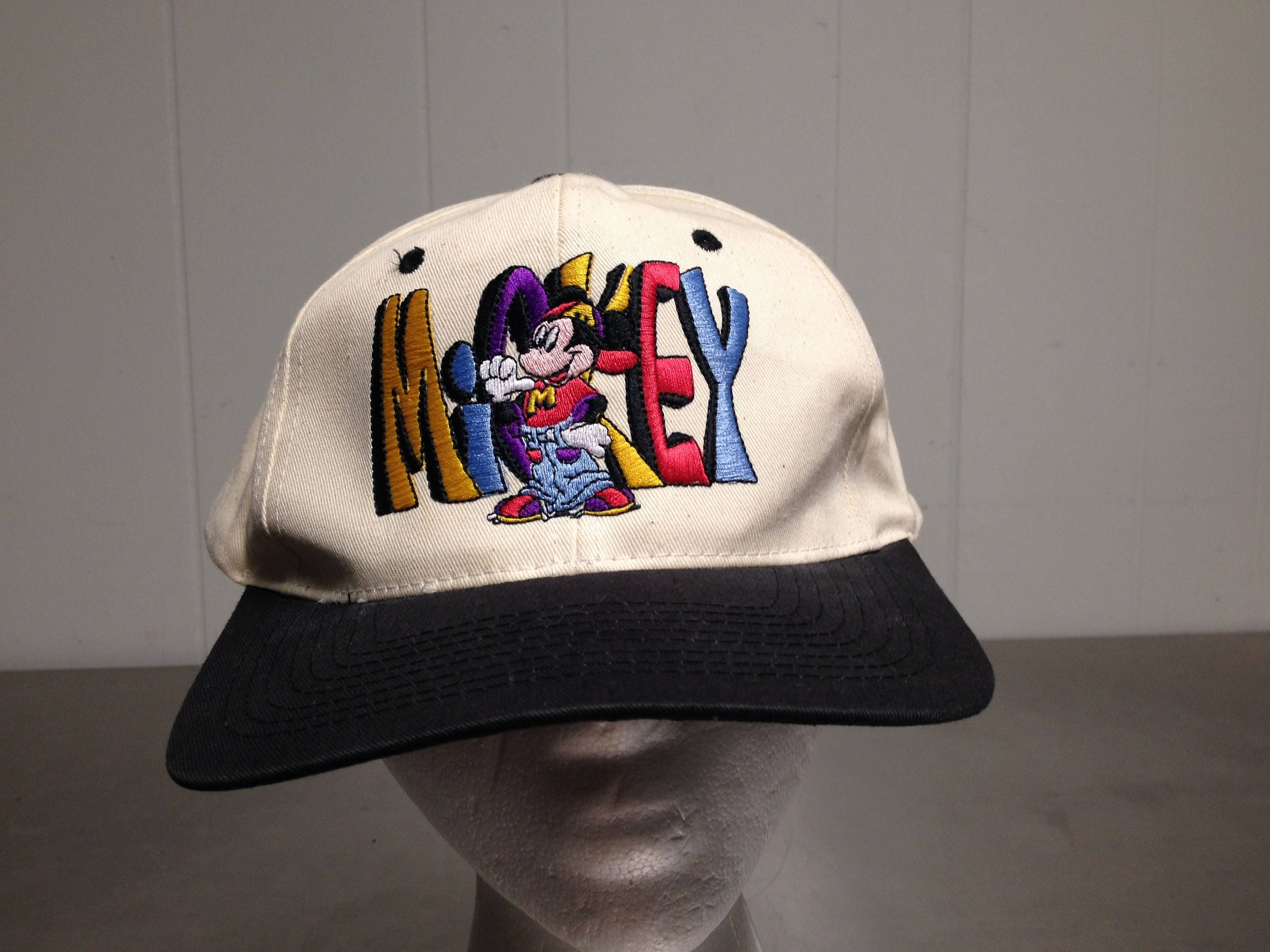 1aa33ce0d0f Vintage 90 s Mickey Mouse Double Sided Embroidered Snap Back Dad Hat  Cartoon Walt Disney