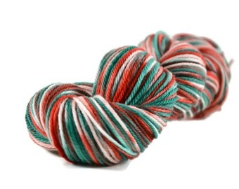 Worsted Yarn, Superwash Merino yarn, worsted weight yarn, wool yarn, 100% Superwash Merino, Christmas Yarn, Red, Green - Deck the Halls