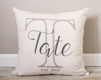 Initial with Last Name & Established Date Pillow |  Couples Gift | Custom Monogrammed Pillow | Personalized Pillow | Wedding Gift Pillow