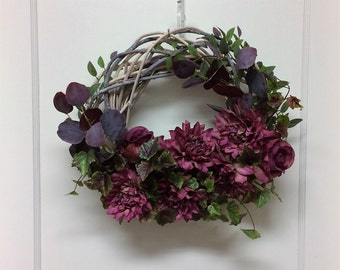 Rose Colored Wreath – Spring Wreath – Summer Wreath – White Vine Wreath – Small Wreath –  Unusual Wreath – Beautiful Wreath – Roses Wreath