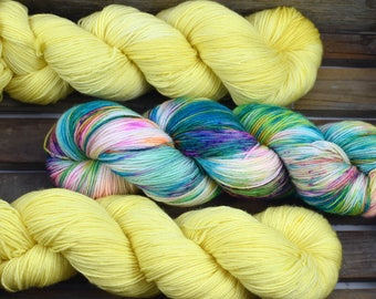 "Sock Yarn - ""Lemon Sherbert"" - Merino / Nylon - Hand Dyed -  100g"