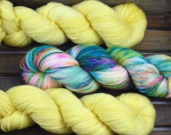 """Sock Yarn - """"Lemon Sherbert"""" - Merino / Nylon - Hand Dyed -  100g"""