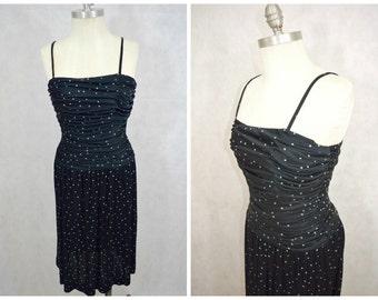 1970s Vintage Dress | Vintage Star Print Dress | Vintage Black Party Dress | Vintage Bernshaw Dress | Body Con Vintage Dress