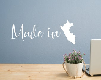 Made in peru, made in country, custom, made in, nationality decal, peruvian decor, countries decal, nationality wall art, nationality decor