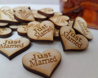 Ginger Ray Heart Wooden Confetti Just Married