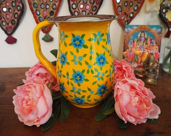 Hand Painted Kashmir Gypsy Floral Enamelware Hippie Shabby Chic Glamping Vase Jug