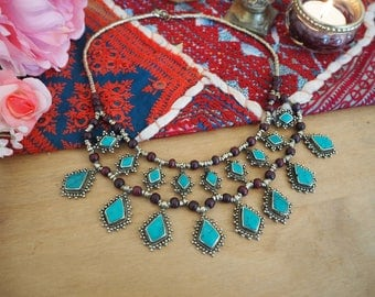 Beautiful Vintage Afghan Hippy Boho Kuchi Ethnic Tribal Banjara Festival Indie Turquoise Choker Necklace