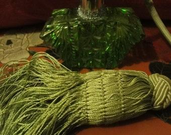 Art Deco PERFUME BOTTLE atomiser in green with tassle    height =9cm