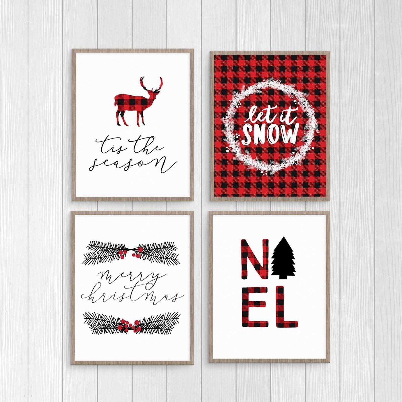 plaid christmas printable set red plaid christmas decor. Black Bedroom Furniture Sets. Home Design Ideas