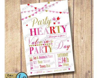 Valentine's Day Party Invitation; Party Hearty Invitation; Hearts Party Invitation; Chalkboard Valentines Day Party Invitation