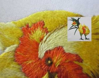 Daffodill coq, hand embroidery, needle painting