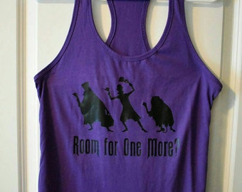 Disney inspired haunted mansion womens tank, purple shirt, hitchhiking ghosts, room for one more?