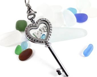 Personalised Stainless Steel 18th Birthday Celebration Memory Heart Key Floating Locket Necklace with Swarovski Birthstone and Initial.