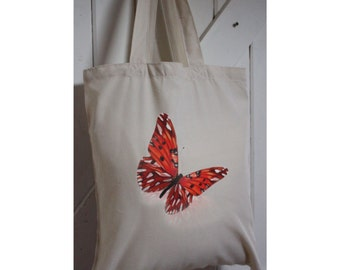 Butterfly Eco tote bag made from recycled plastic bottles Butterfly watercolour print,long handles, personalised, Butterfly gift