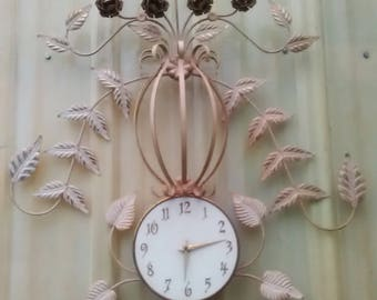 Large Metal Leaf Clock , Wall Clock, Distressed Antique Wall Clock