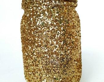 Glitter Mason Jar, Home Decor, Centerpiece, Wedding, Birthdays, Office Supplies, Gold, Set of 3