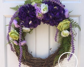 Summer Wreath, Purple Wreath, Hydrangea Wreath, Front Door Wreath, Wreath Street Floral, Rose Wreath, Grapevine Wreath, Spring Wreath