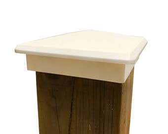 """Decorative Pyramid Post Cap for 3.5"""" x 3.5"""" Fence and Deck Posts – White"""