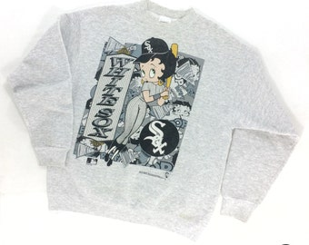 Vintage 90s Betty Boop White Sox Sweater | Vintage Chicago White Sox Sweatshirt | Vintage MLB White Sox Betty Boop Sweatshirt |