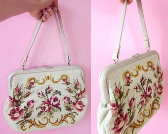 Large Gobelin purse needlepoint handbag with floral embroidery on a beige grey base 1960s - large 60s tapestry bag on budget spring summer