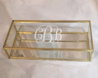 Personalized Glass Box. Customized Jewelry Box.Bridal Party Gift.Bridesmaid Gift.Personalized Gift