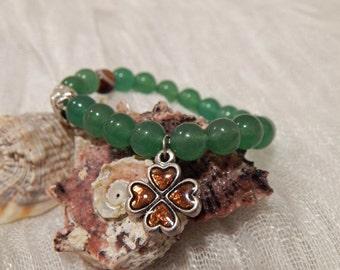 Aventurine Bracelet, Charm lady bird, charm clover, Natural stone Bracelet, Gemstone Bracelet, Womens Gift, Womens Jewelry, Agate Bracelet