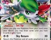 Pokemon Shaymin Ex - Roaring Skies  - Ultra Rare  Mega Proxy handmade card! Near mint Holographic HANDMADE!
