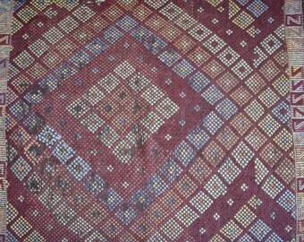 Small Antique Kilim , Turkish Nomad Rug , Old Distressed Kilim