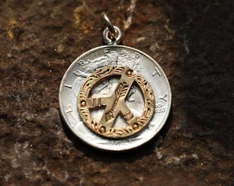 Vintage Coin Pendant | Walking Liberty Charm | Peace Pendant | Peace Sign Charm | Coin Jewelry | Silver Coin Pendant | 925 Silver Peace Sign