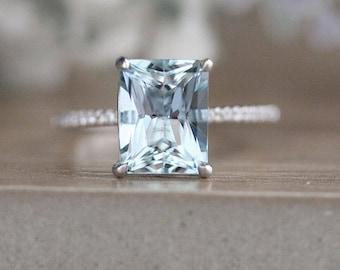 White Gold Aquamarine Emerald Cut Engagement Ring, 10x8mm Natural Aquamarine Wedding Ring, 14k White Gold and Diamond Bridal Ring