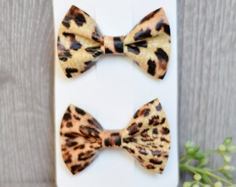 Cheetah Piggy Pack, Leather Hair Bow Clips, Leather bows, Set of 2