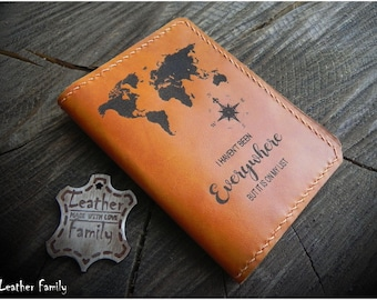 Leather Passport Cover/ Personalized Passport Case/Adventure Gift/Passport Wallet
