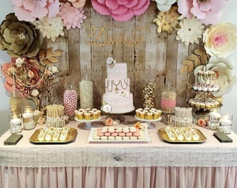 PAPER FLOWER BACKDROP  - All flowers in image - dessert table flowers - home decor - baby room decoration - Kardashian baby shower flowers