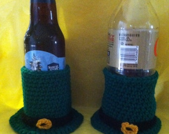 St. Patrick's Day Leprechaun Hat Beer Cozy, Soda Cozy, St Patties Day Beer Cozy, St. Patrick's Day beer holder