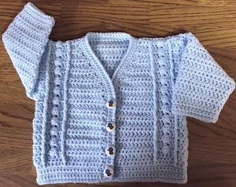 Printed DK Crochet Pattern For V Neck Cardigan. Sizes: Birth to 6 years (1012)