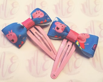 Peppa pig hair bows, headband, hairband, snap clips, girls, ladies, children