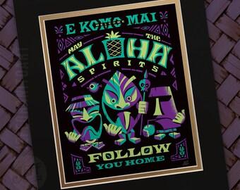 Aloha Spirits Night, Tiki Art Print, Polynesian Art, Island Signs, Haunted, Ghost, Spirits, Beach Signs, Hawaiian Decor, by Jeff Granito