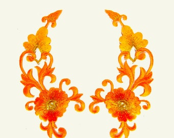 Flower Patches iron on Patch Embroidered Patches Metalic Orange Patch Bouquet Pair 12 X 11.5 cm. EP16 New