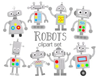 Robot Clipart Set, Cute Robots Clip Art Designs, Fun Robot Vector Illustrations, PNG Clipart Pictures