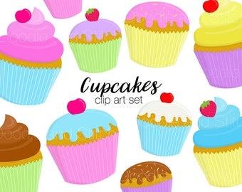 Cute Cupcakes Clipart Set, Pretty Cake Clip Art Designs, Birthday Party Illustrations, Digital Download Art