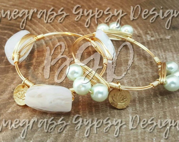 Ivory glass pearl wire wrapped bangle, bracelet, Bourbon and boweties inspired
