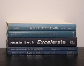 Vintage Blue and Black Spine Instant Library Decor Books