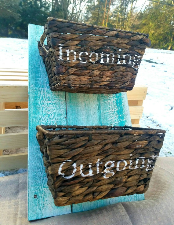 Office Mail Organizer. Distressed Pallet Incoming/Outgoing Basket Holder,