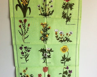Wildflowers Vintage Tea Towel - Richlin, Linen, Cotton, Un used condition. 1960's
