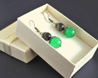 Dangle green earrings Green jade gemstone earrings Birthstone jade Green ball earring Emerald green jewelry Black emerald green jewelry gift