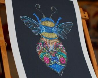 Bumblebee print, Bumblebee Art, Bee Art, Colourful Bee print, Bee print, Bee Totem print, Bee Spirit Animal Print